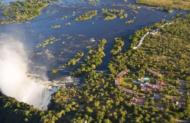 Aerial view of The Royal Livingstone Hotel by Anantara