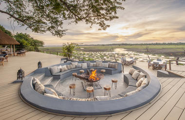 Kafunta River Lodge - Fireplace & Lounge