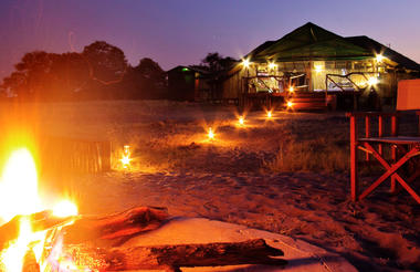 The boma area and Camp Savuti at night