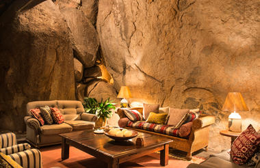 Gorgeous lounge area built into the natural caves of Matopos