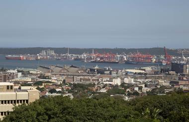 panoramic view across the city and port