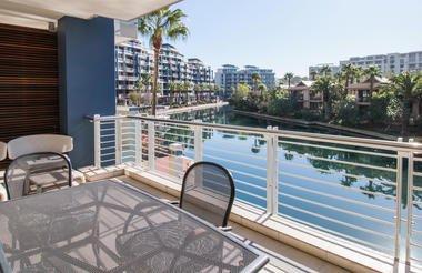 Patio seating area with Marina view