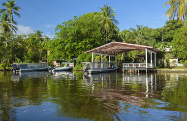 The charming dock has a lounge area to contemplate the serene lagoons
