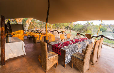 DIning table in the boma overlooking the lagoon in front