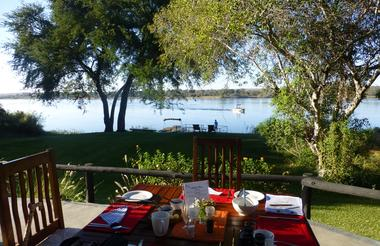 Breakfast on the terrace at Waterberry Lodge.