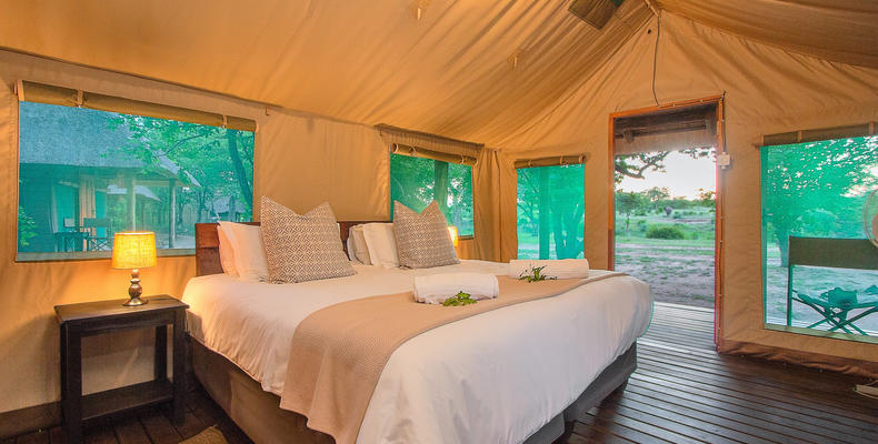 double bed tented accommodation
