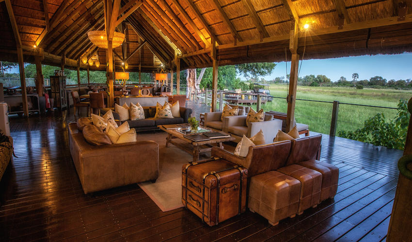 Camp lounge with a view of the waterhole