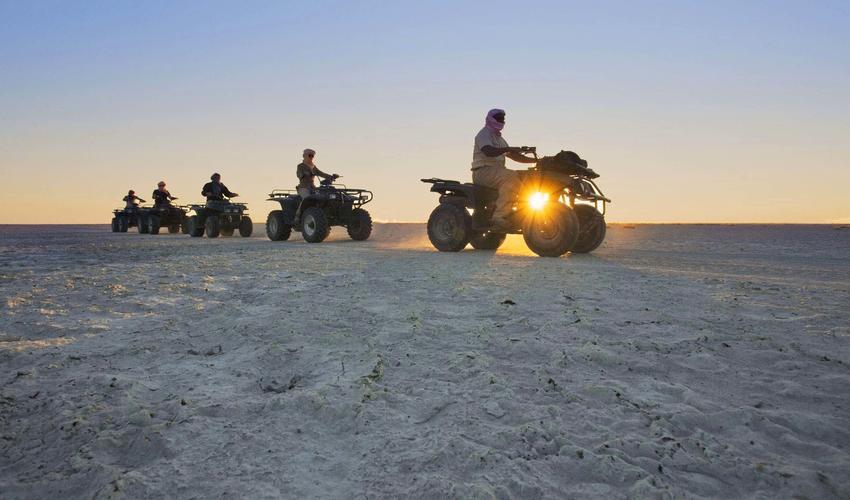 Dry season activity, quad biking along the pans
