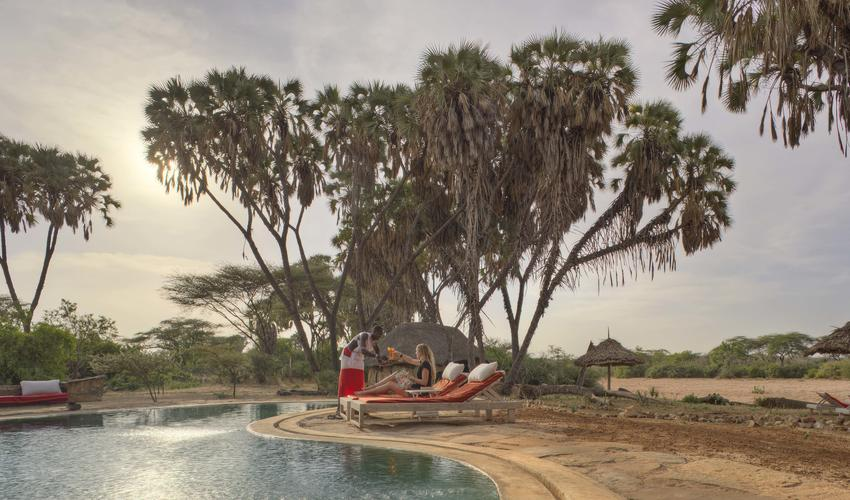 Cooling down by the pool in Sera after rhino tracking