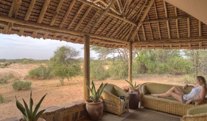 Overlooking the waterhole, enjoy the best bush TV daily - elephants literally on your doorstep