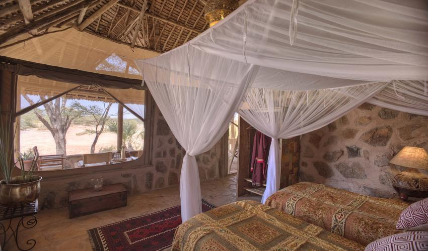 The new family banda at Saruni Rhino sleeps 4 - as 2 doubles or a double and a twin