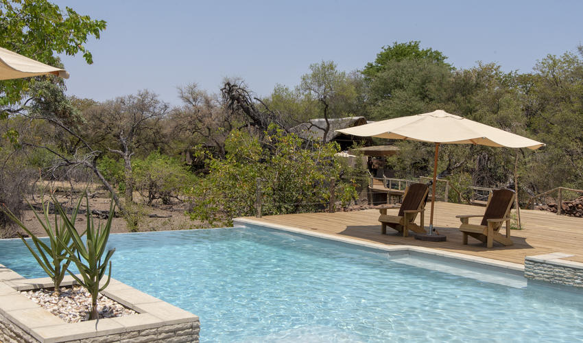 The pool overlooking the waterhole in front of camp
