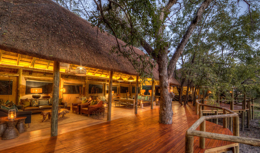 Guest areas at sunset creates a warm and welcoming atmosphere