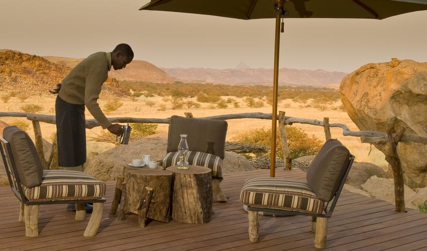 The surrounding space and endless views of Damaraland cannot be contained.