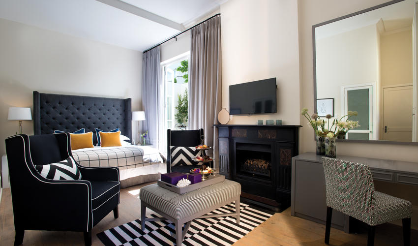 Interior of a Superior luxury room, contemporary chic and bohemian influences