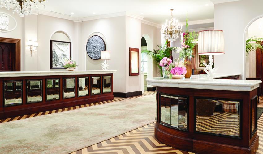 Refurbished hotel reception and concierge