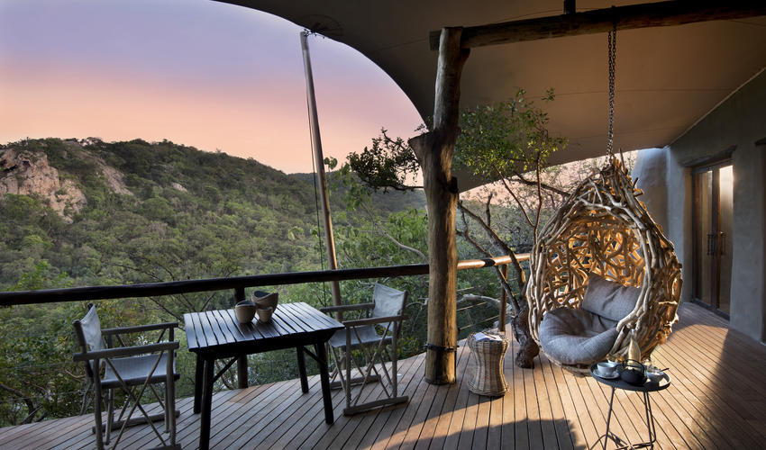 Guest area views at Phinda Rock lodge
