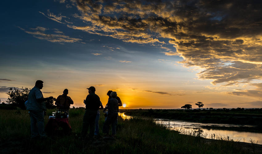 Sundowners in the Serengeti are not to be missed
