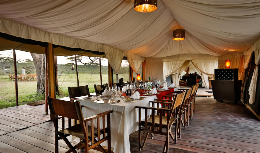 The open sided dining tents where meals are served offer wonderful views of the Serengeti
