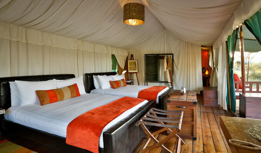 The tents all enjoy queen size twin beds. All are ensuite with flushing toilets and hot showers. Power is provided by an inverter and available 24 hrs a day. Very spacious with lots of room to relax and unwind