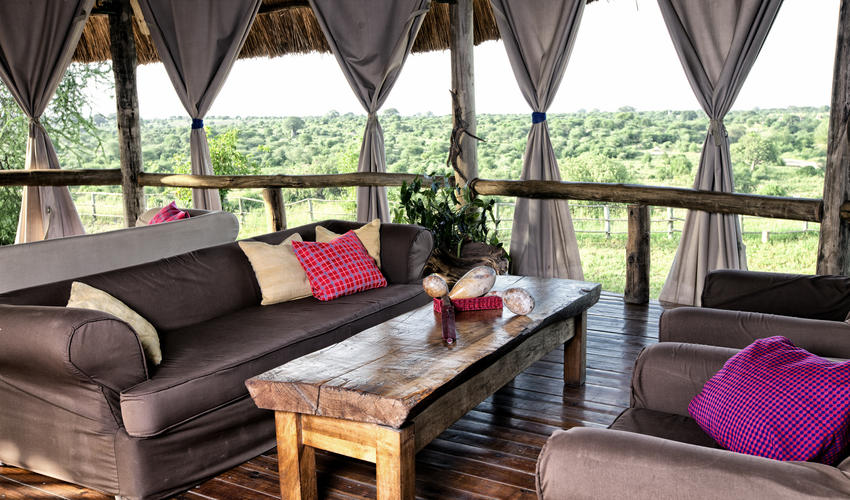 Guest Lounge Area in main deck at Mbali Mbali Tarangire River Camp