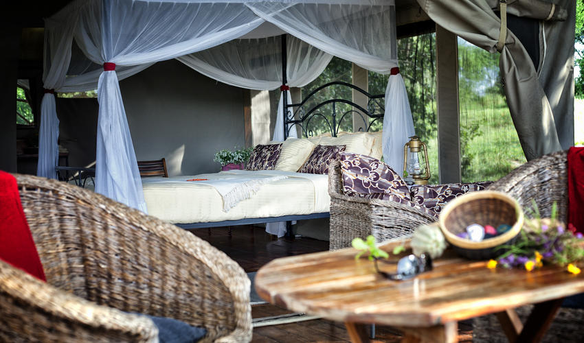 Double Room with ensuite bathroom and private balcony at Mbali Mbali Tarangire River Camp