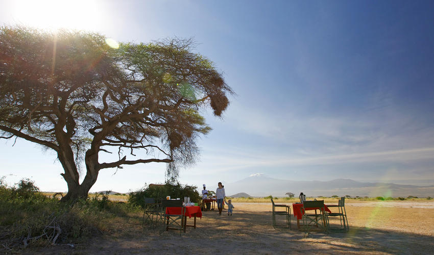 Bush Breakfast on the plains of Amboseli