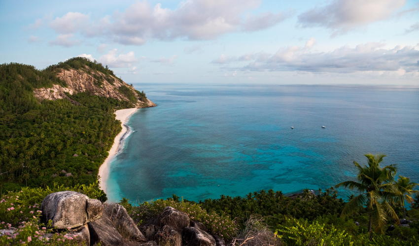 The view from Spa Hill down over East Beach and the Indian Ocean