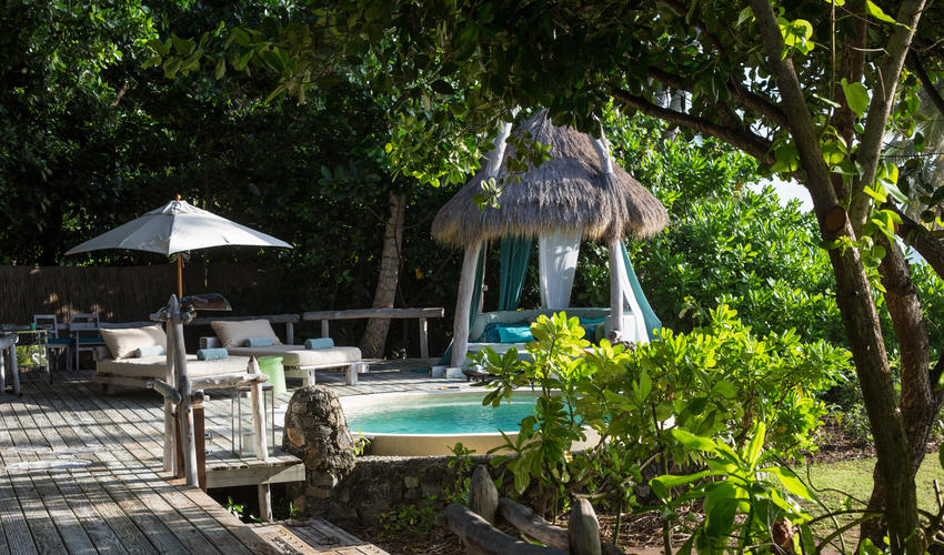 The deck, plunge pool and sala at each Presidential Villa extend your private space outdoors