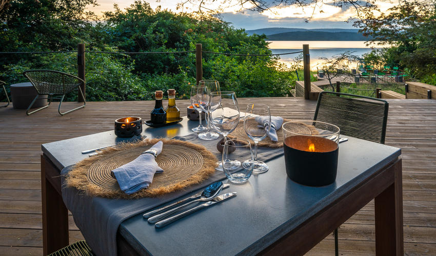 Best seats in the house - table for two overlooking Lake Rwanyakazina