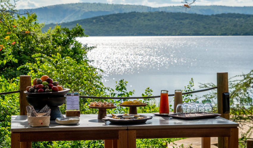 A beautiful spot for breakfast overlooking the lake