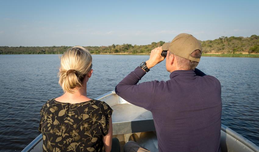 Boating is a popular activity on Lake Rwanyakazinga