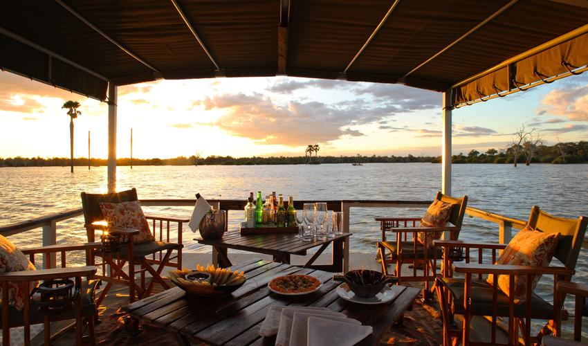 Enjoy sundowners or a deliciously lunch as you cruise around the lake on Siwandu's pontoon boat