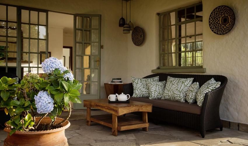 Guest cottage verandah seating area