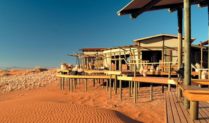 The Dunes Lodge is perched on top of a dune plateau