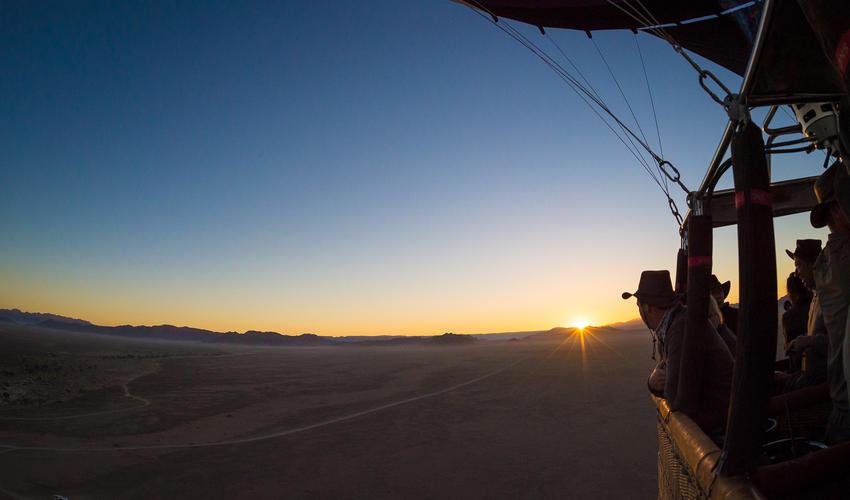Hot air balloon sunrise at Kulala