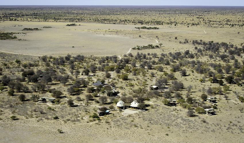 An aerial view of the dry season at Kalahari Plains Camp