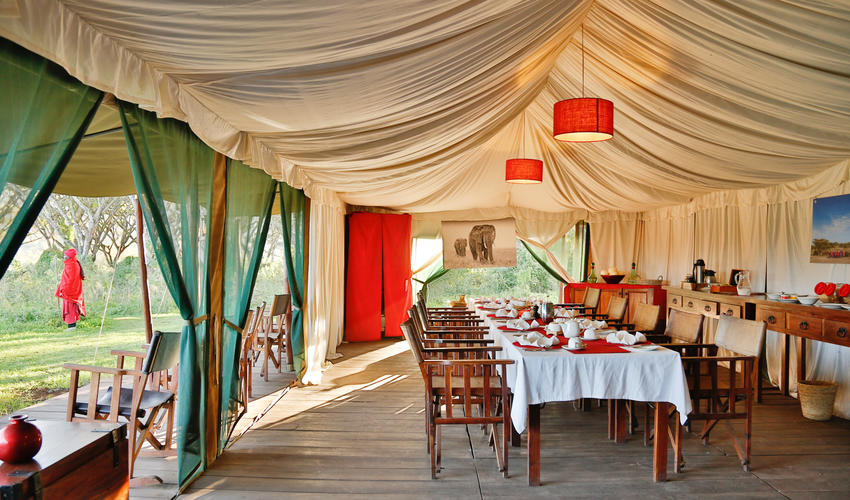 The open sided dining tents where meals are served offer wonderful views of the Acacia Forest