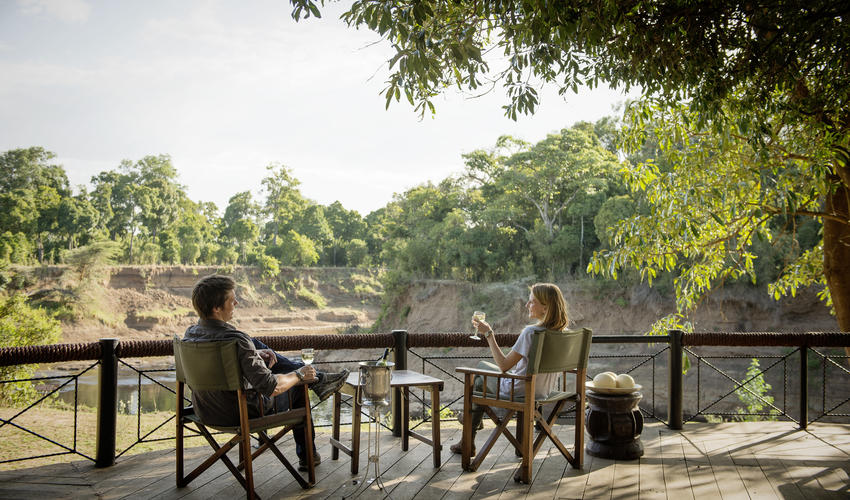 Bar deck overlooking the Mara River