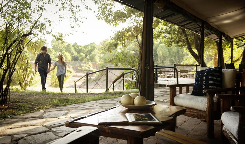Main lounge area alongside the Mara River