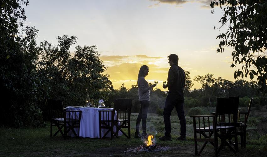 Bush Dinner on banks of Mara River