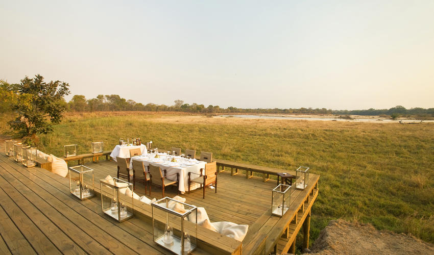 Dining with a breathtaking view of the flop plains and Kapamba River