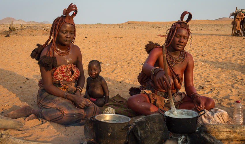 Himba women remain in the villages while the men tend to the livestock