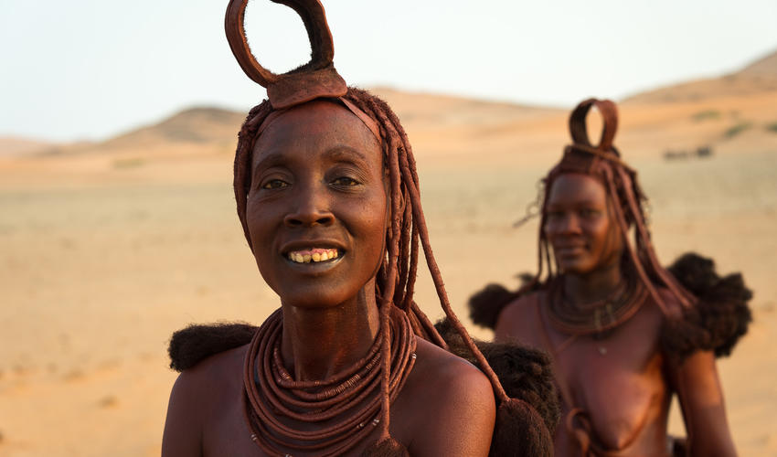 Himba women are famous for covering themselves with otjize paste [a cosmetic mixture of butterfat and ochre pigment]