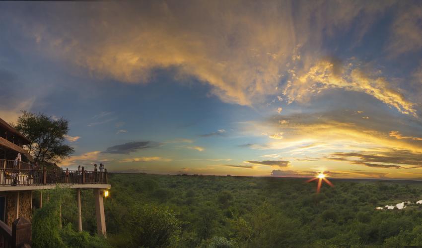 Victoria Falls Safari Lodge deck - sunset view