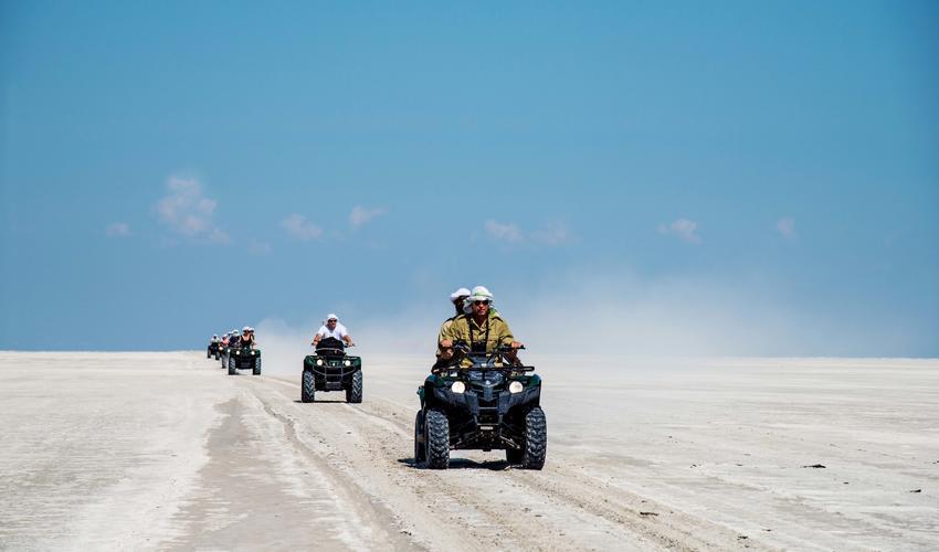 During the dry season enjoy quad biking along the pans