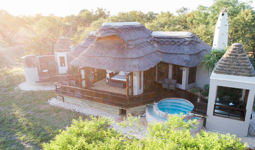 A arial view of the private villa's