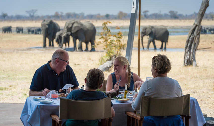 Enjoying brunch with the elephants in the distance