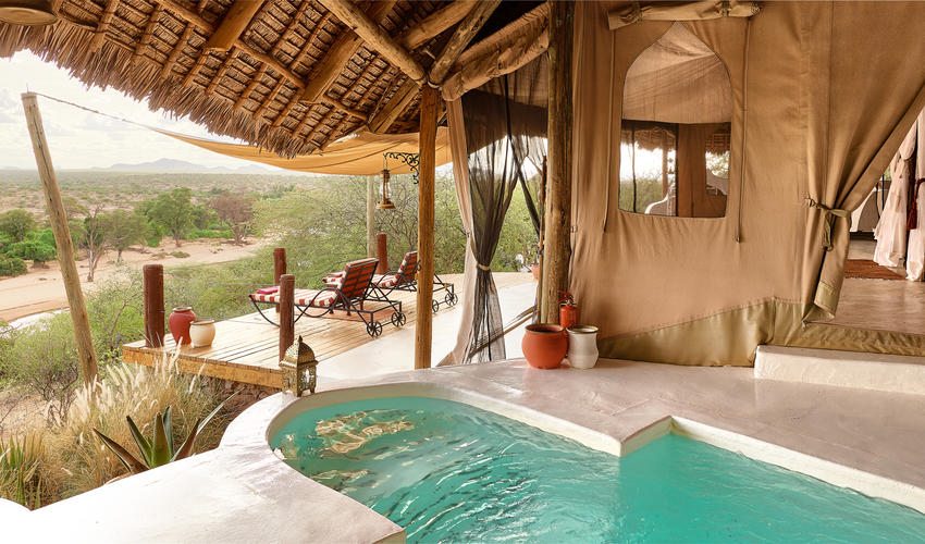 Breathtaking views of the Samburu landscape from your suite