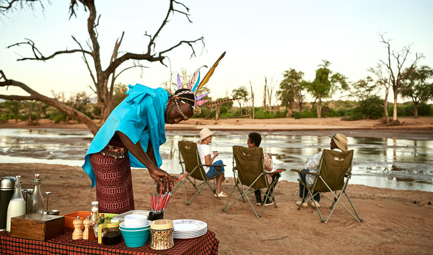 Bush breakfast on the banks of Ewaso Nyiro River